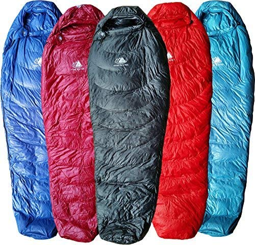 (Hyke & Byke Ultralight Down Sleeping Bag: 3 Season 32 Degree Mummy Bag Under 2 LBS - The Lightest, Bag for Thru Hiking, Backpacking, and Camping (Black, Regular))