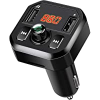 WinPower Car Bluetooth FM Transmitter 4.2 Wireless MP3 Radio Adapter Support Hands-Free Calling, TF Card, USB Flash Drive, Two USB Ports Charger (Black)