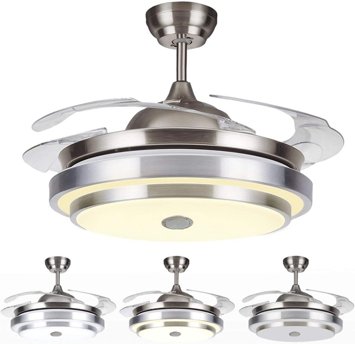 Tengchang 144 LED Remote Ceiling Fan Light Warm cool white W Bluetooth speaker 4 Blades 42 inch