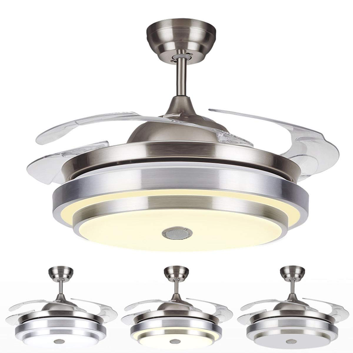 TC-Home Warm Cool Natural White Ceiling Fan Light Retractable Blades with Bluetooth speaker/Remote control