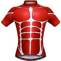 WOSAWE Mens Transpirable Ciclismo Jersey 4d Acolchado Transpirable de Secado rápido