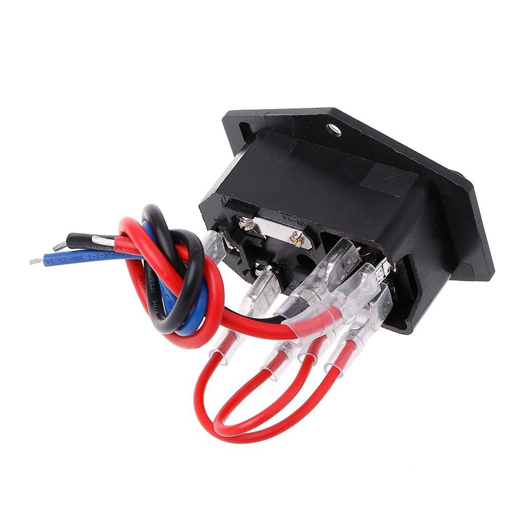 JOYKK Impresora 3D Enchufe Tipo U Interruptor Adaptador Socket con Interruptor y Fusible Negro