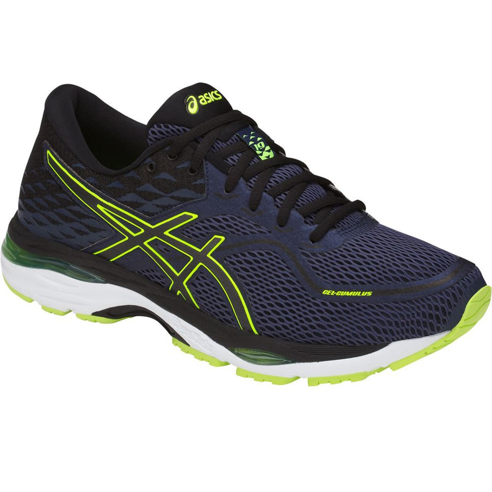 ASICS Mens Gel-Cumulus 19 Running Shoe, Indigo Blue/Black/Safety Yellow, Size 12 by ASICS