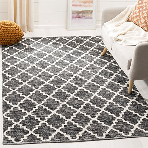 Safavieh Montauk Collection MTK810D Handmade Flatweave Black and Ivory Cotton Square Area Rug (6' Square) - Ivory Rug Black Rug