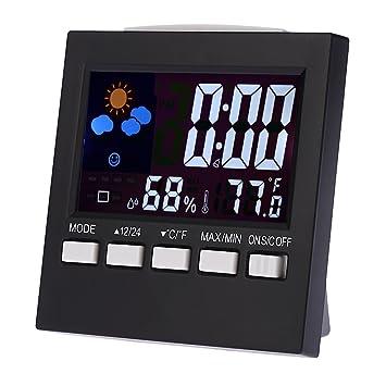 LCD Reloj Digital Multifuncional colorido termómetro higrómetro alarma  repetitiva Función calendario Pronóstico del tiempo de visualización 83f2d7f9dcd7