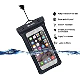 [IPX8 Certified]SMARCO TPU Floating Waterproof Bag With Headphone Jack, Adjustable Strap and Armband, keeping cell phone, Money, Credit cards or car keys from Water, Snow, Sand, Dirt -Black