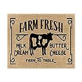 Market Fresh Milk Cream Butter Cheese Farm to Table Home Decor Burlap Print | Kitchen Signs | Farm Fresh Bakery Sign | Farmhouse Style Sign | Mom Gift