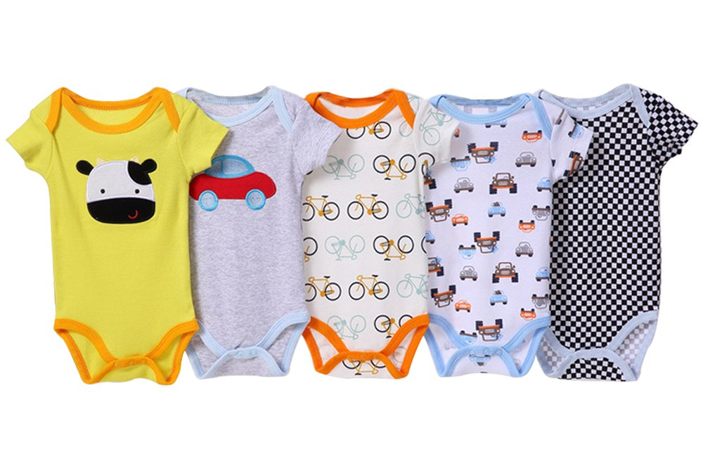 5 Pack BOZEVON Baby Boys Girls Comfortable Long//Short Sleeve Bodysuit Onesies Baby Romper 0-24 Months