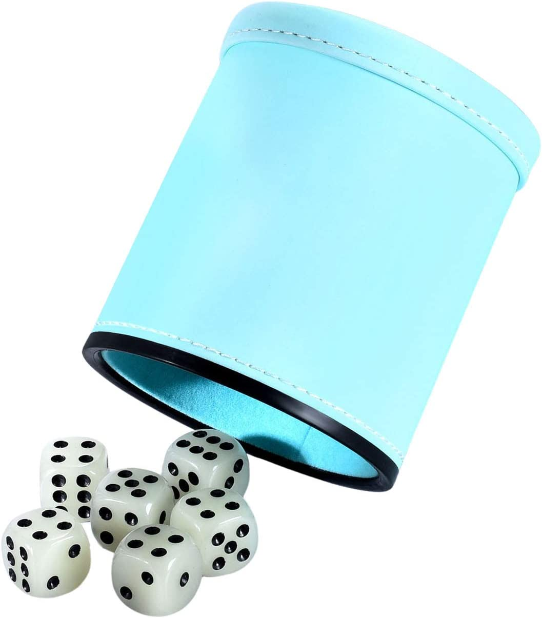 Glow in The Dark Dice Cup Felt Lined Pu Leather Shaker with Luminous Dice Quiet for Playing Yahtzee// Farkle// Liars Dice// Board Game 1 Pack