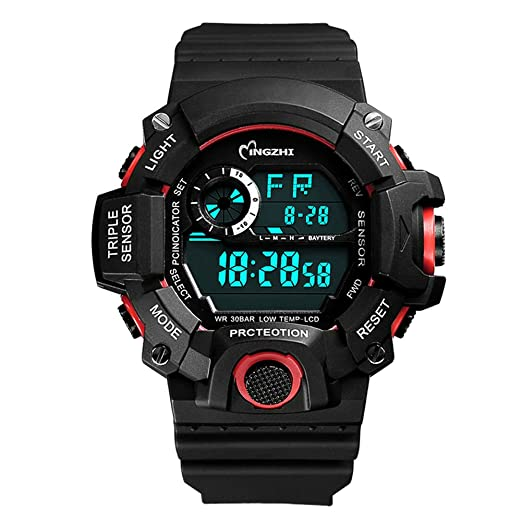 Kids Boys Watches Analog LED Dispaly Multi Functions Outdoor Shock Water Resistant Sport Watch Black/