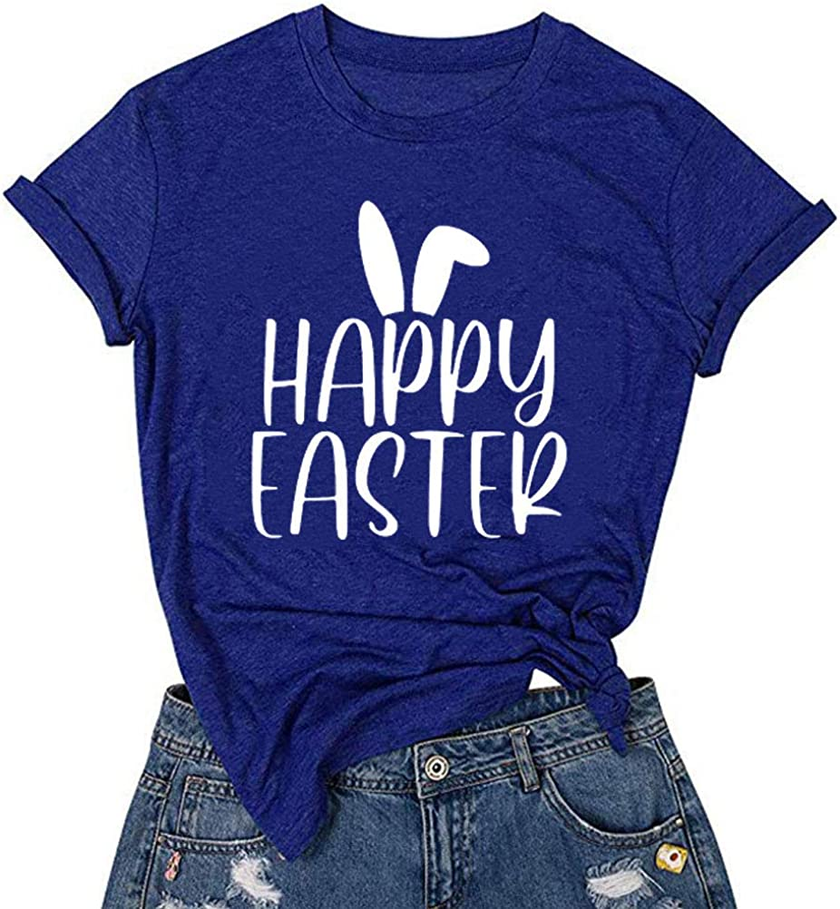 YourTops Women Happy Easter T-Shirt Cute Easter Rabbit Shirt