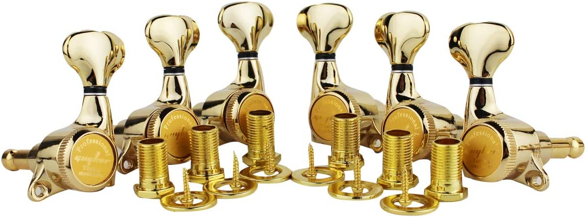 Folk or Acoustic Guitars TL Style Electric SG 1:18 Ratio Lock String Tuning Key Pegs Machine Heads Set Replacement for LP Gold 6 Left Handed Guyker 6Pcs Guitar Locking Tuners