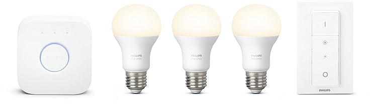 Philips Hue White E27 LED Lampe Starter Set, drei Lampen inkl. Bridge und Dimmschalter, dimmbar, warmweißes Licht, steuerbar via App, kompatib