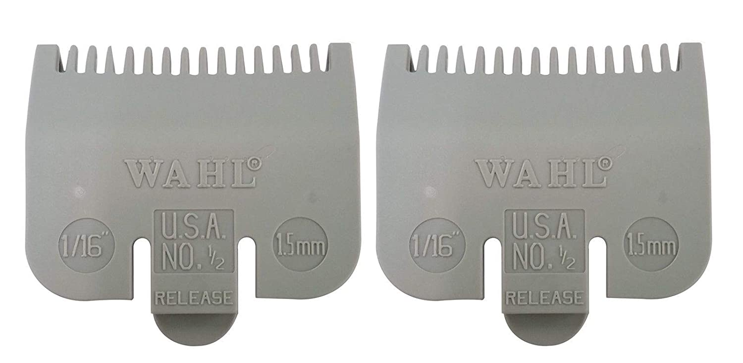 Wahl #3137-101 Gray Color Coded Clipper Guide Comb 1//16inch Attachment 2-Packs