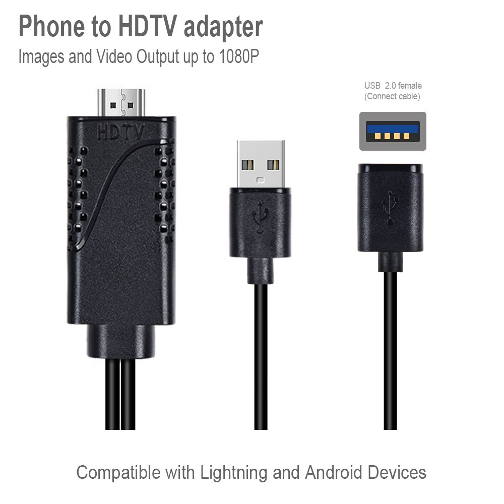 Lightning to HDMI Cable,ZAMO 1080P Lightning Digital AV Adapter for Mirroring Mobile Phone Screen to TV/Projector converter HDMI Adapter for Android device, iPhone,iPad,Samsung -Black