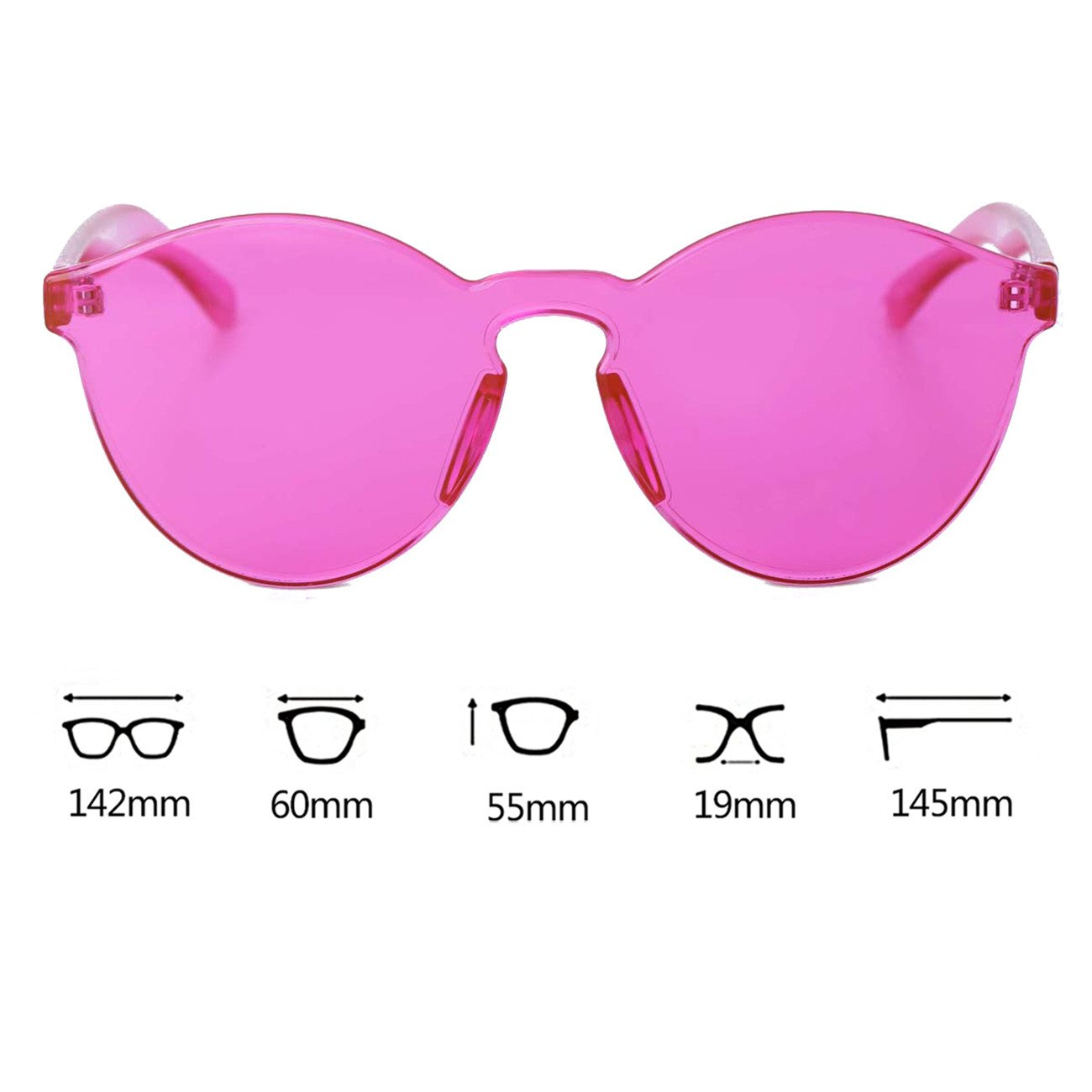 WISH CLUB Cat Eye Rimless Sunglasses for Women Oversized Lightweight Transparent Glasses Candy Color Eyewear (Pink)