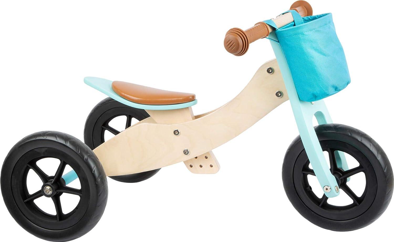11609 Triciclo - Bicicleta Maxi 2 en 1, small foot, de Madera, en Turquesa, Triciclo y Bicicleta con Asiento Ajustable y neumáticos de Goma.