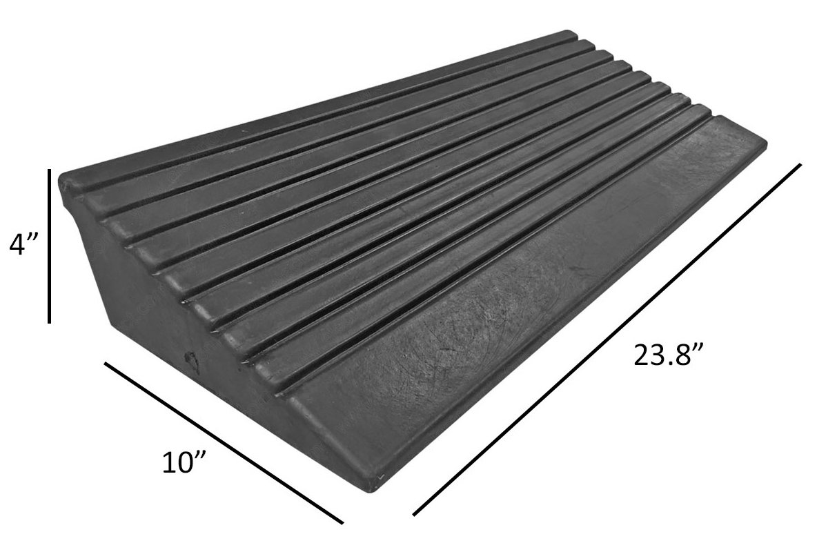 5 Ton 4 Inch Rubber Curb Ramp with 2 End Caps 10,000 lbs capacity