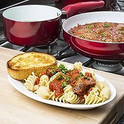 Ecolution Bliss 8Piece Non-Stick Cookware Set - PFOA, PTFE & Lead Free, , Candy Apple Exterior / White Interior