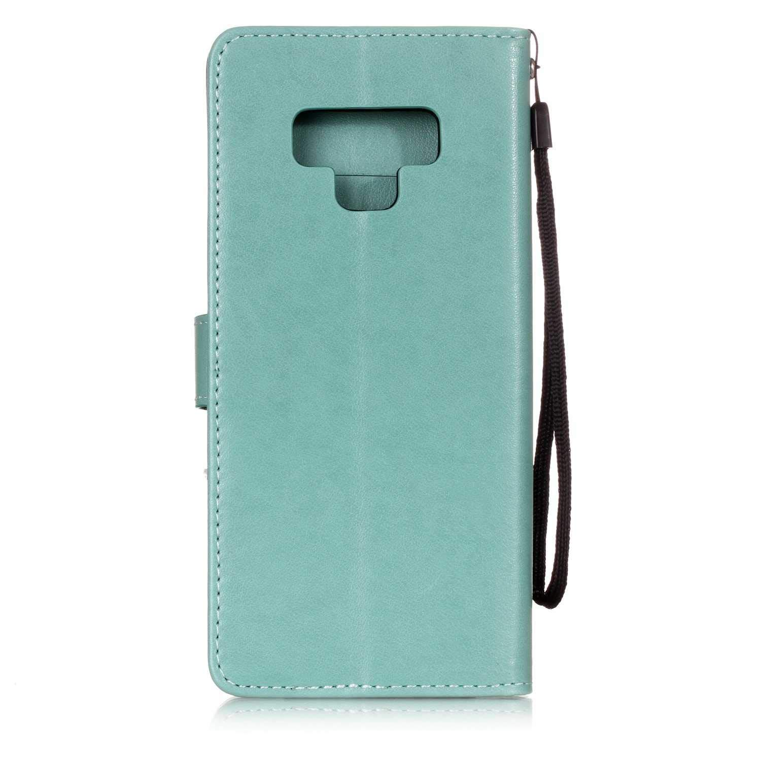 The Grafu Galaxy Note 9 Case Black #1 Wallet Case Leather Embossed Magnetic Cover Credit Card Case with Free Tempered Glass Screen Protector for Samsung Galaxy Note 9