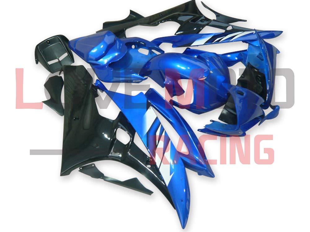 LoveMoto ブルー/イエローフェアリング ヤマハ yamaha YZF-600 R6 2006 2007 06 07 YZF 600 ABS射出成型プラスチックオートバイフェアリングセットのキット ブルー ブラック   B07KKBC1VK