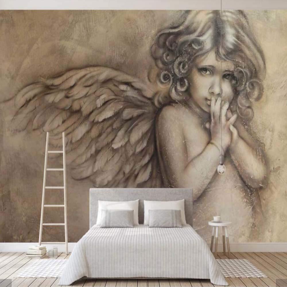 ADDFLOWER 3D Geprägte Engel Europäischen Wallpaper Wandbild für Wohnzimmer TV Hintergrund Wand Dekor Benutzerdefinierte Größe Gedruckt Foto Wand Papier Wandbilder, 200x140 cm (78,7 von 55,1 in)