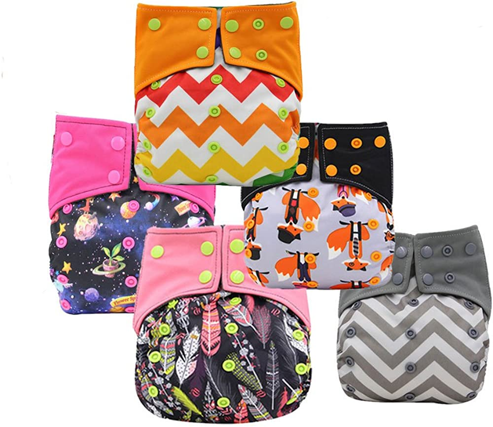 Baby Nappy Pocket Bamboo Charcoal Cloth AIO Diapers Sewn in Insert Double Gussets by Ohbabyka
