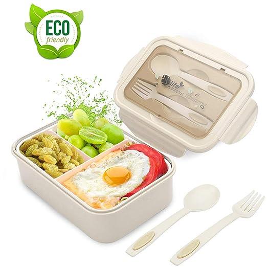 LAKIND Fambrera Infantil, Lunch Box, Fiambrera con 3 ...