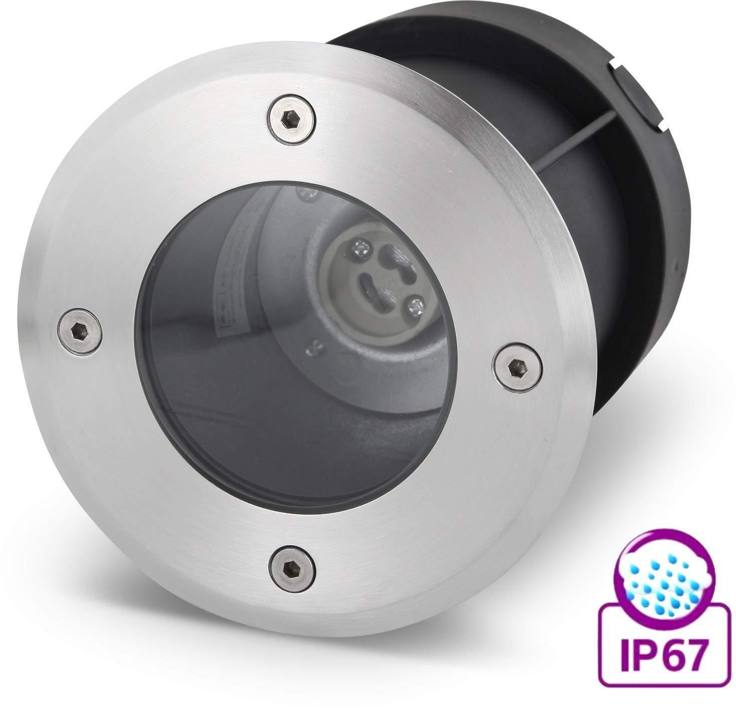 4x Bodeneinbaustrahler Rund ohne Leuchtmittel LED Halogen Durchschleifbar IP67