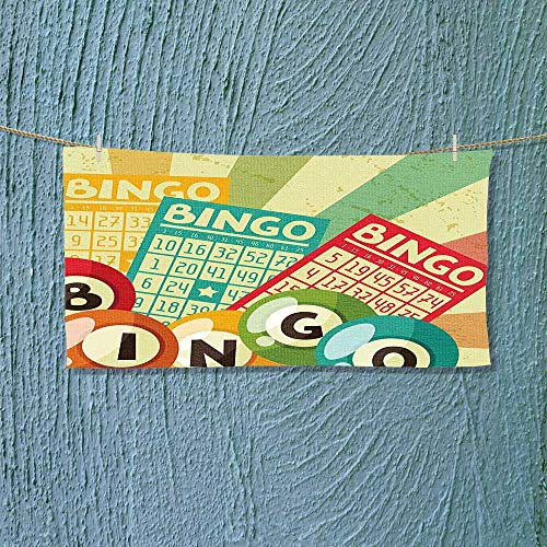 Fitness Towel Bingo Game with Ball and Cards Pop Art Stylized Lottery Hobby Celebration Theme No Fading Multipurpose L27.5 x W13.8 inch -