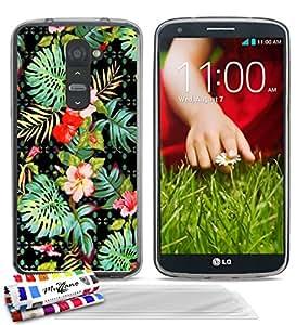 """Carcasa Flexible Ultra-Slim LG OPTIMUS G2 de exclusivo motivo [Hawaï Flores] [Gris] de MUZZANO  + 3 Pelliculas de Pantalla """"UltraClear"""" + ESTILETE y PAÑO MUZZANO REGALADOS - La Protección Antigolpes ULTIMA, ELEGANTE Y DURADERA para su LG OPTIMUS G2"""