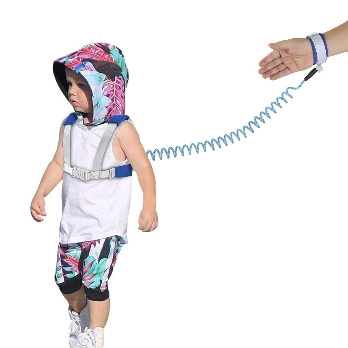 Reflective Wrist Link Pink 2-in-1 Kids Anti Lost Safety Belts and Toddler Wristband Kits Safety Anti-Lost Harness Leashes for Walking Shopping Outing Travel