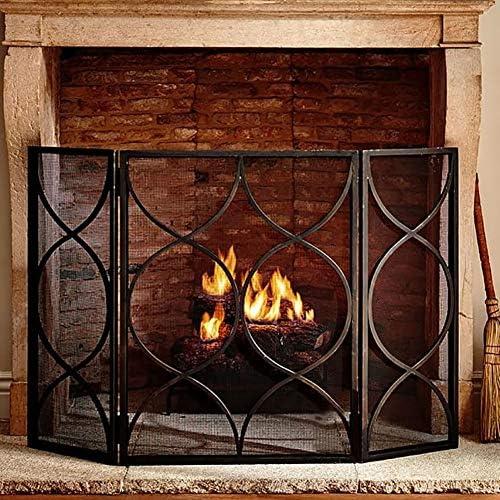 YXX-暖炉スクリーン 3-パネル錬鉄メッシュ暖炉スクリーン、ベビーセーフスパークガードプロテクター門のw/折りたたみパネル、ウッドバーニングストーブアクセサリー (Color : Black)