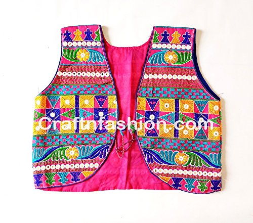 MEGH CRAFT Women's Gujarat Hand Embroidered Shrug Height: 17-18'' inch,Bust - 38'' inch Multi-Color ()