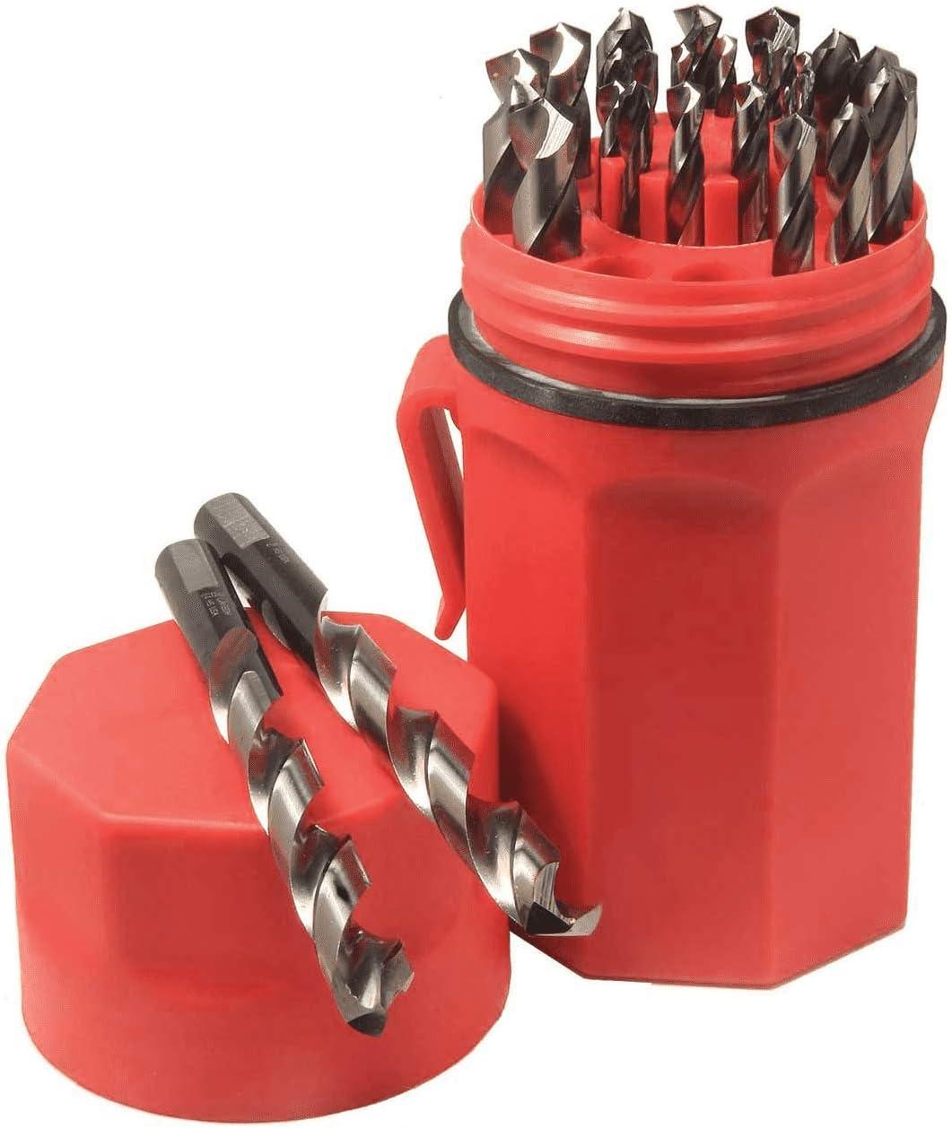 Norseman CN-TECH Cryogenic Nitrided Super Premium 29 Piece Drill Bit Set Round Shank with Three Flats Red Ultradex 47462-135 Degree Split Point
