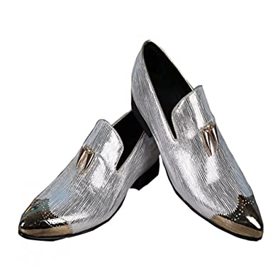 Men's Leather Loafers Slippers With Gold Buckle Wedding Dress Shoes Slip-On Flats Shoes (US 11)