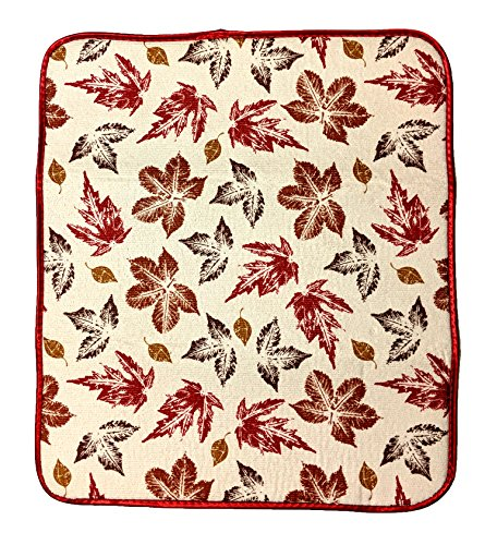 Kane Home Kitchen Mat Dish Drying Mat Microfiber Highly Absorbent with Non-Slip Backing, 16 x 18 Inches, Eco-Friendly Dot Backing, Fall Leaves Autumn Theme