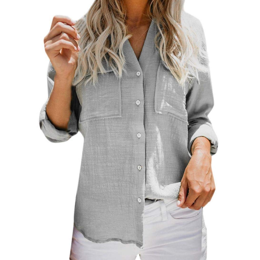 Women Cotton Linen Casual Solid Long Sleeve Shirt Blouse Button Down Tops SamMoSon 11814109