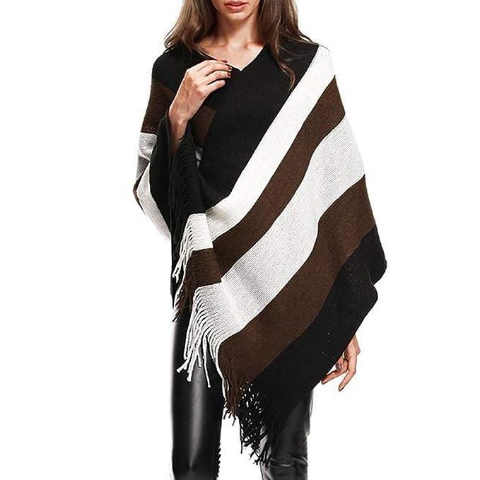 Guiran Las Mujeres Elegantes de Punto Manto Batwing borlas Patrones de la Raya con Flecos Lados Chal Abrigo Poncho Cape Sweater Coat Negro: Amazon.es: Ropa ...