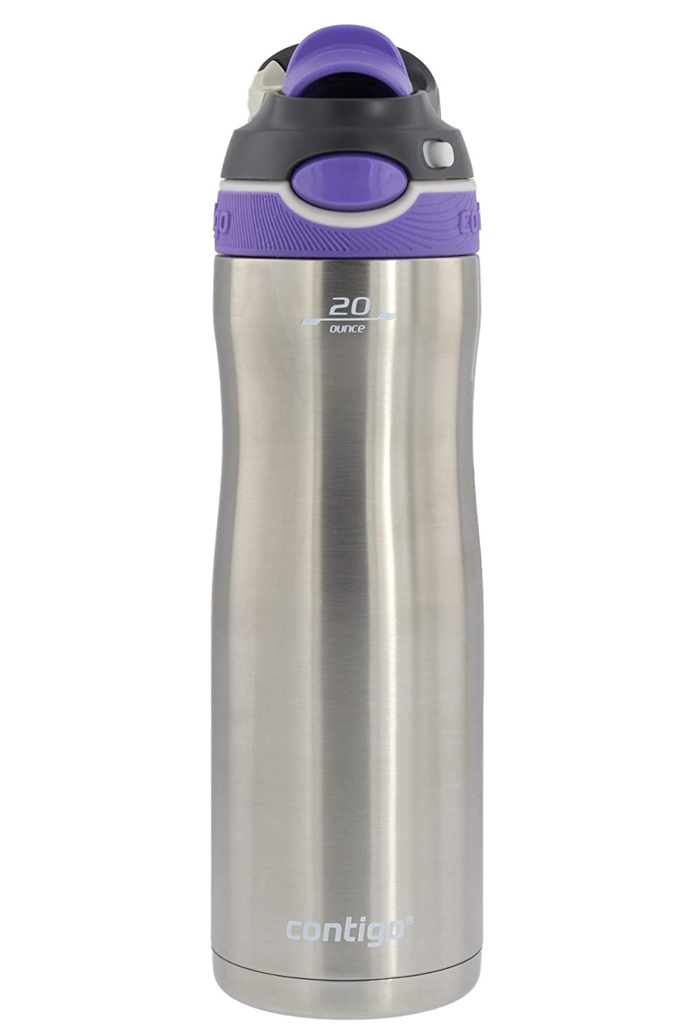 Contigo Autospout Chug Chill Stainless Steel Water Bottle with Vacuum Insulation - Ideal for Outdoor Lifestyles, Travel, Gym - BPA-Free, Leak-Proof, Carry Handle & Spout Cover, 20oz - Grapevine