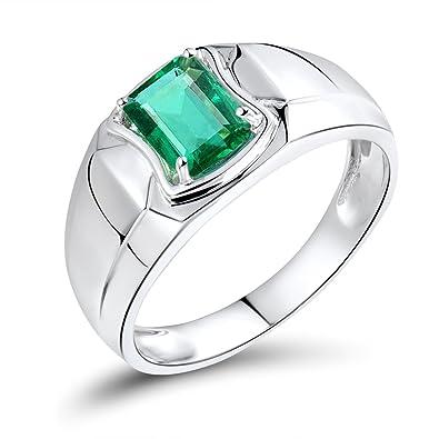 65cf4c85f7e20 Lanmi Men's Jewelry 1.18ct Genuine Emerald Rings Solid 14kt White ...