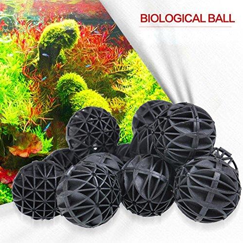(Ecosin 100 Pcs Biological Filtration Balls Aquarium Bio Balls Filter Media Wet Dry Koi Fish Tank Pond)