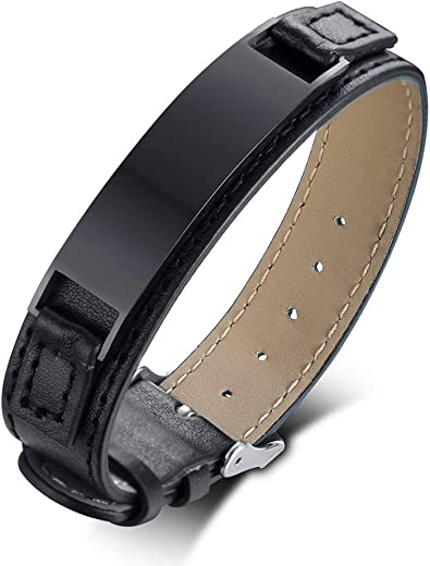 """Free Engraving Stainless Steel Men/'s 8/"""" Stitched Black Leather Bracelet"""