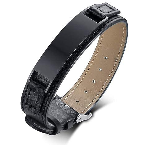6ad307d1887b Mealguet Jewelry - Pulsera de Piel para Hombre con Grabado Personalizado
