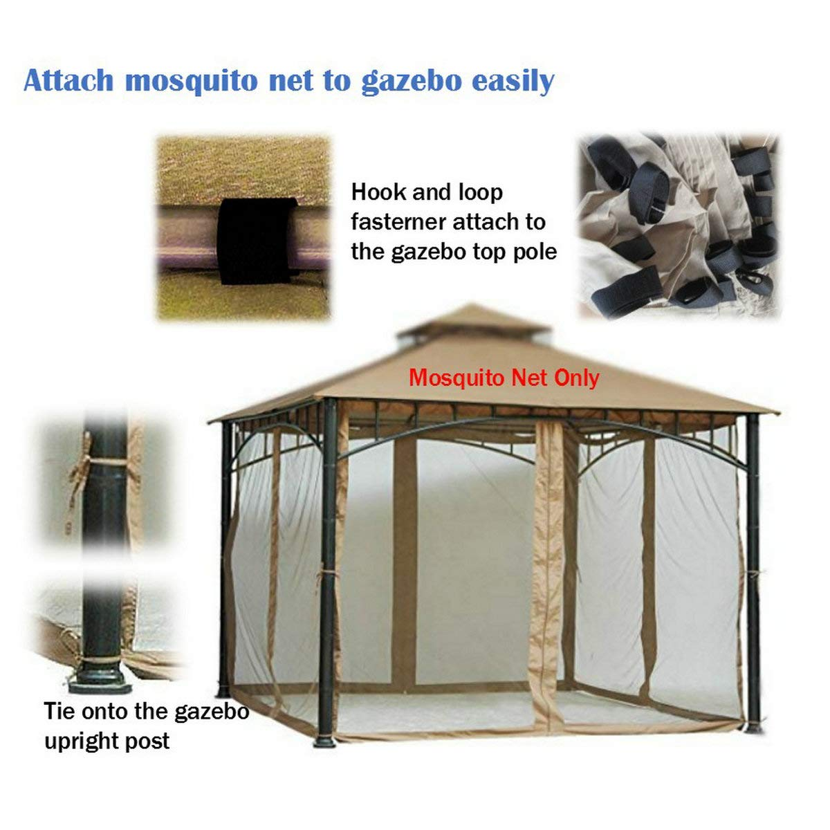 Replacement Mosquito Netting for Gazebo Size 10ft x 10 ft (Gazebo Mosquito Net Only) by PierSurplus (Image #3)