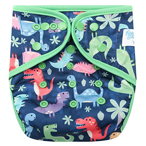 HappyEndingsTM One Size Cloth Diaper Cover AI2 System (Dinosaurs, Rawwr!!) ()