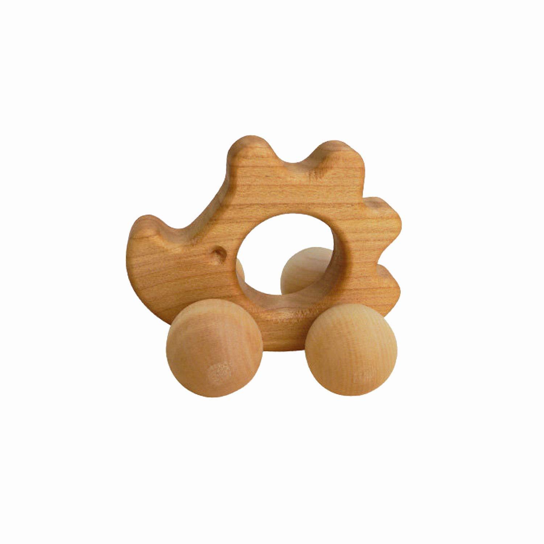 Greifling Igel Kirschbaum | HANDMADE | Holz Beiß ring - Spielzeug aus Holz fü r Baby Mä dchen und Jungen