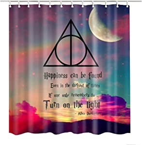 Bartori Shower Curtain Colorful Cloud and Moon with The Deathly Hallows Logo in Harry Potter Waterproof Polyester Fabric Bath Curtain with 12pcs Hooks and Size 71''X71'' Nice Decorative