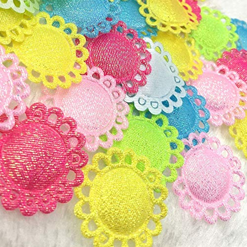 FidgetKute 50pcs Felt Padded Flowers w/Left Rhinestone Appliques Craft Sewing A302 Mix 50 pcs