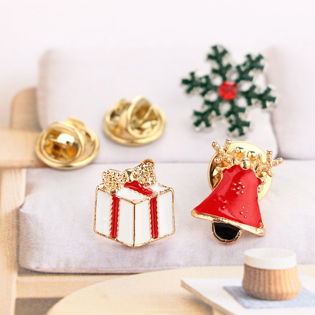 GUAngqi Christmas Brooch Pin Set Alloy Dripping oil Boot, Deer, Snowman, Christmas Tree, Gloves Christmas Jewelry Decor,Picture 2 by GUAngqi (Image #3)